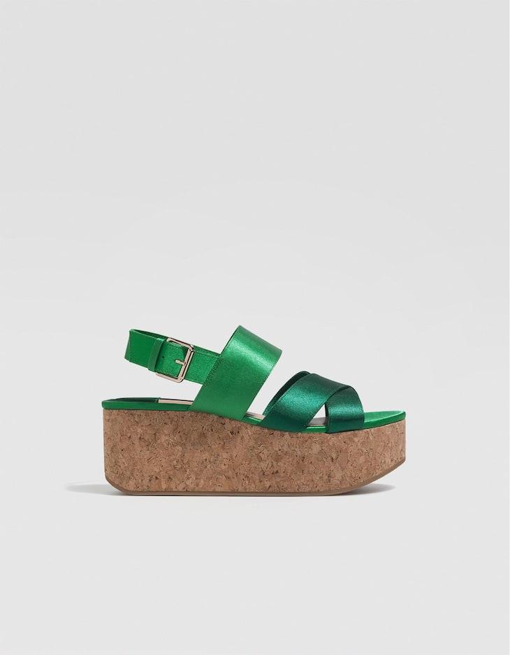 Chaussures compensées liège satin