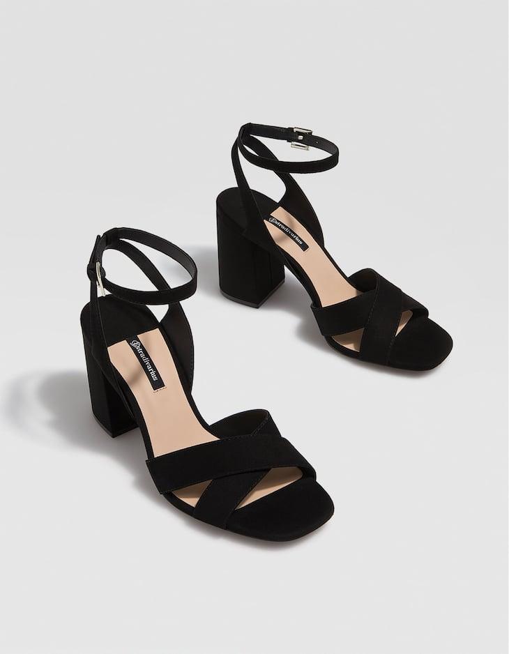 ShoptagrBlack High Sandals Heel By Stradivarius 5Rj4A3L