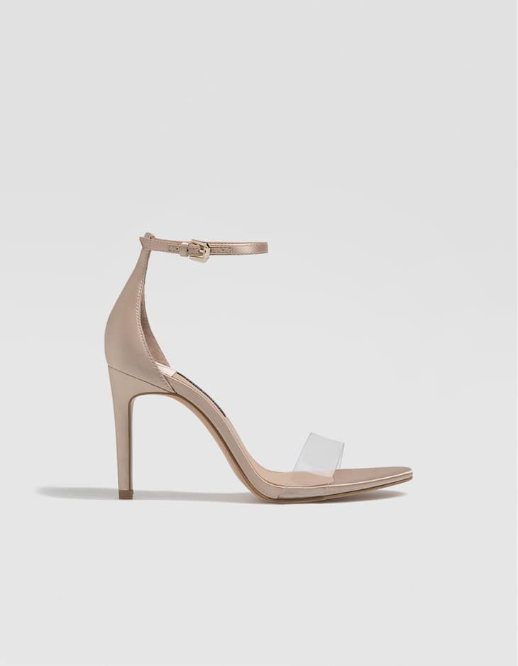 Nude vinyl high-heel sandals