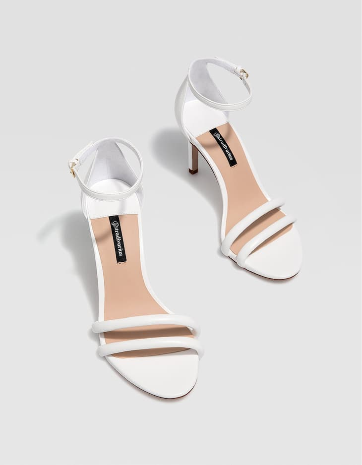 White stiletto heel sandals