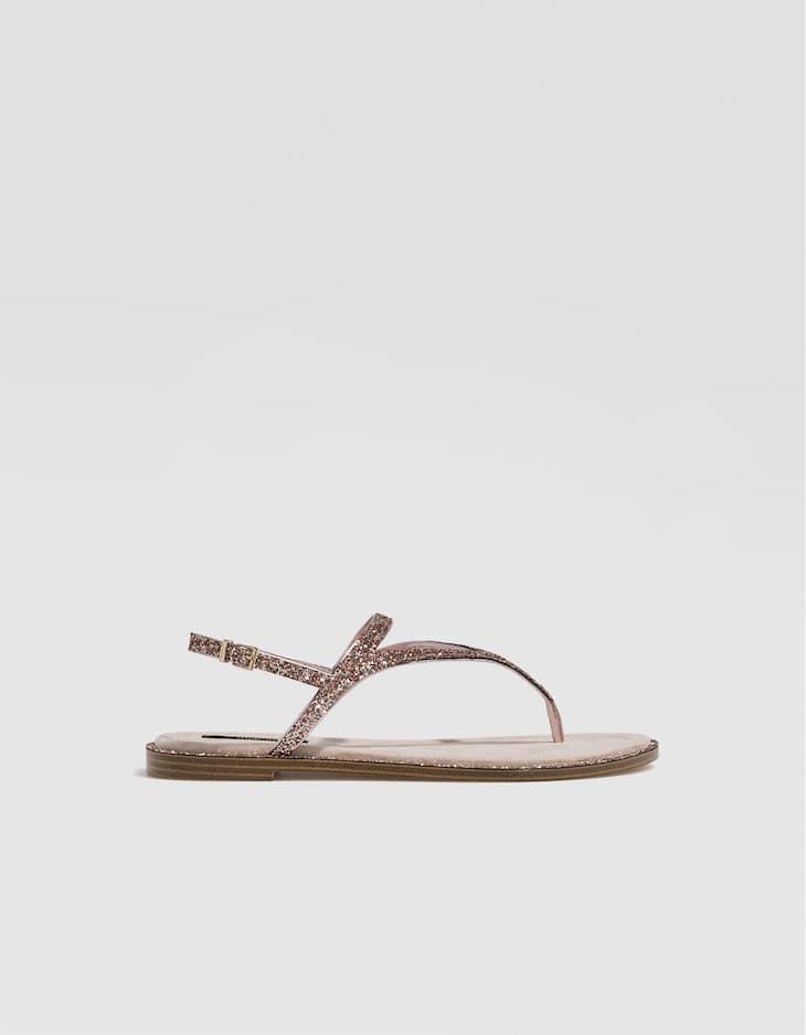 Sandales plates paillettes nude