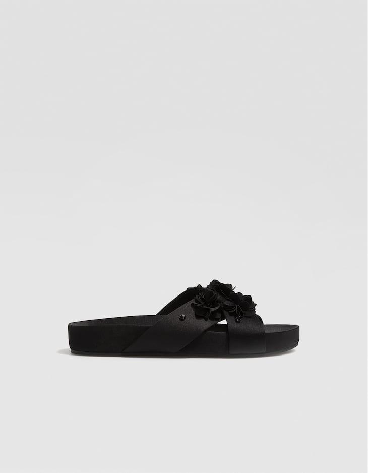 Sandales fleurs noires