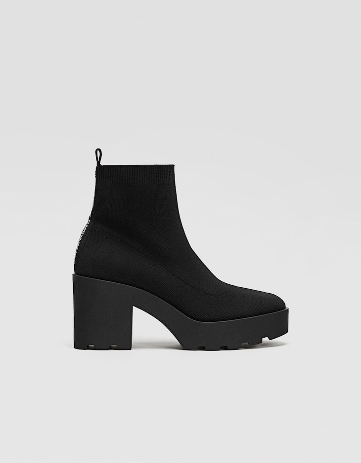 Fabric ankle boots with track soles