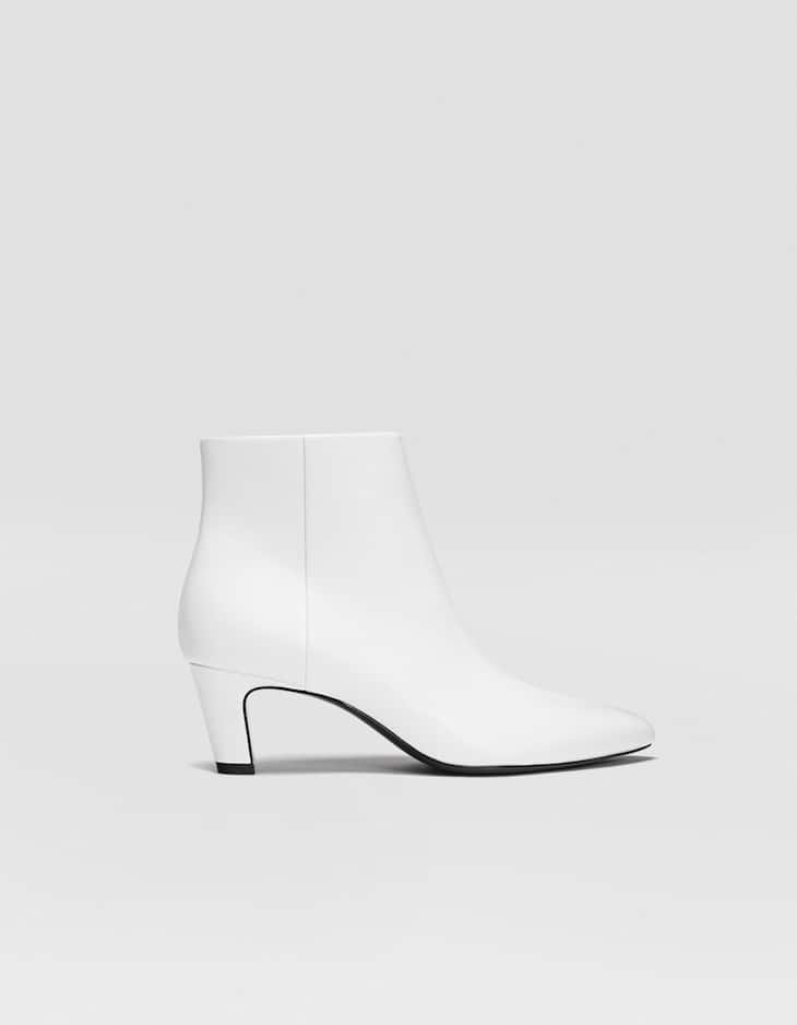 White mid heel ankle boots