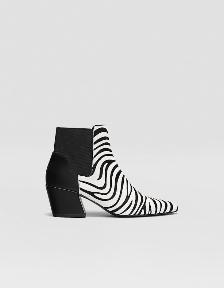 LEATHER zebra print heeled ankle boots