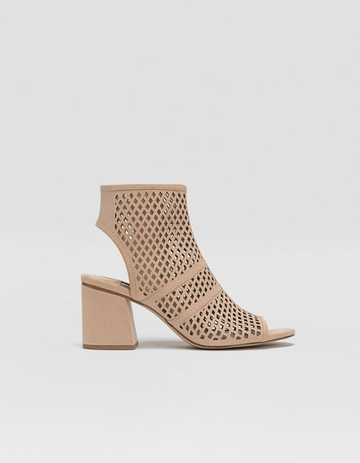 Die-cut sandal-style ankle boots