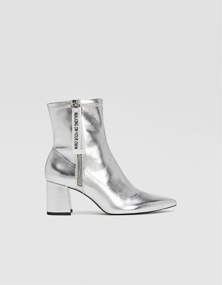 Silver heeled ankle boots with zip detail