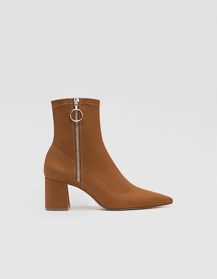 Brown high heel ankle boots with zip