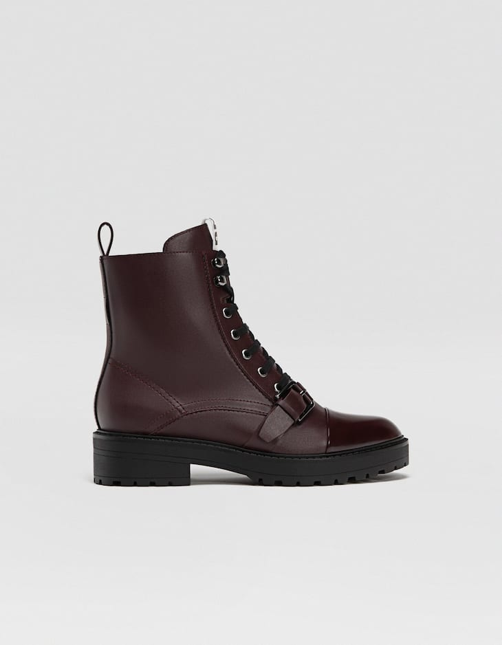 Maroon lace-up biker ankle boots