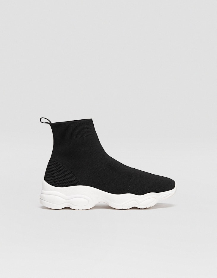 Black sock high-top trainers