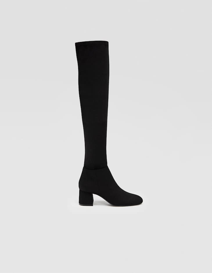 Black mid-heel knee-high boots