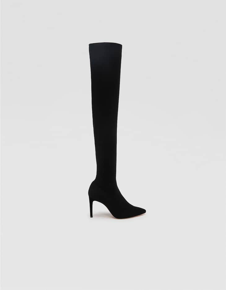 Black high-heel over-the-knee boots in stretch fabric