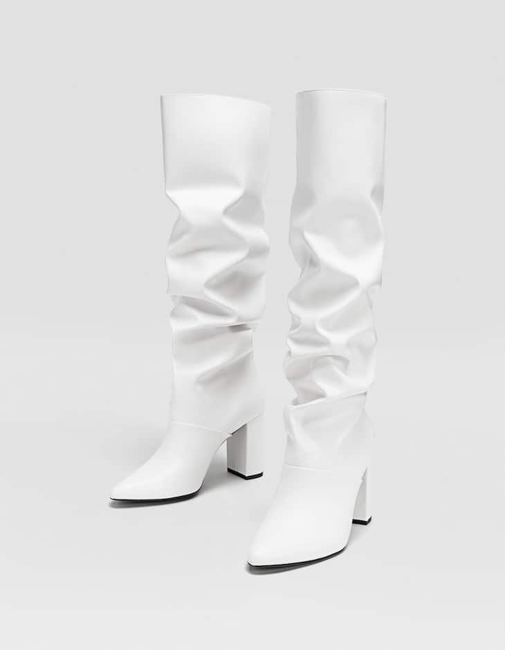 White boots with heels