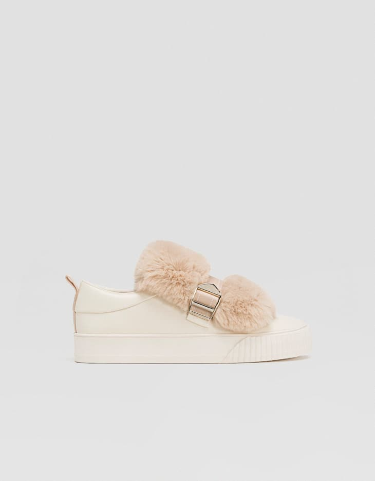 Trainers with faux fur detail