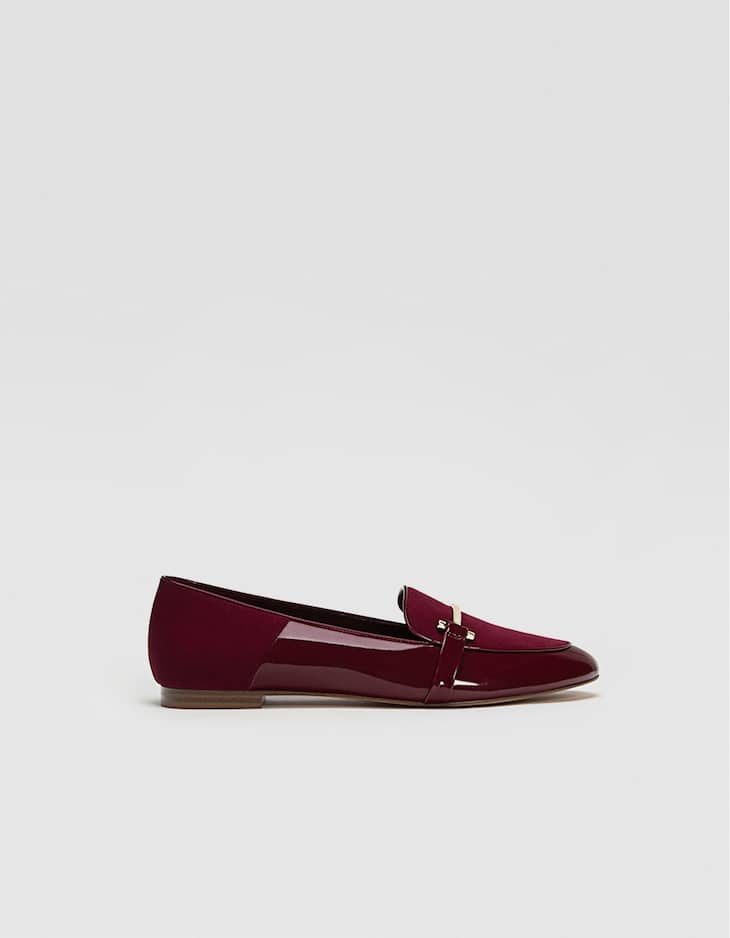 Faux patent leather loafers