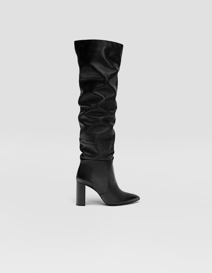 Black LEATHER high heel boots