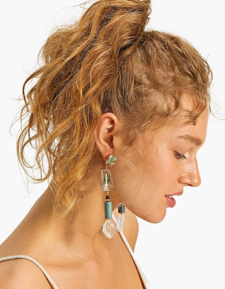 Nature-inspired resin earrings
