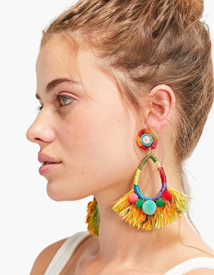 Boucles d'oreilles perles et pompons