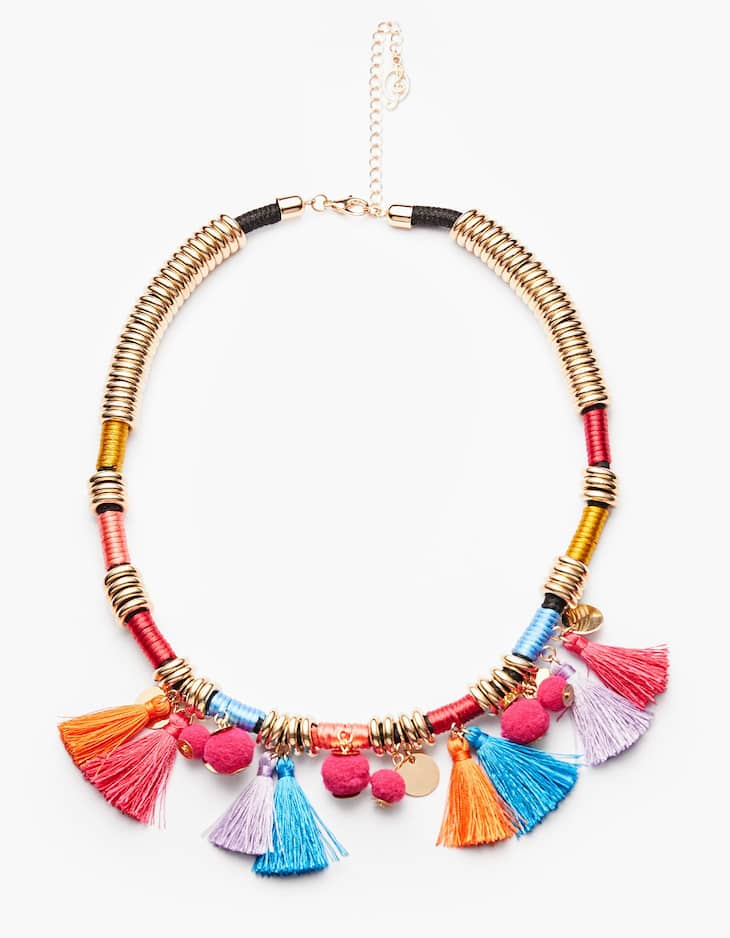 Multicoloured tassel necklace