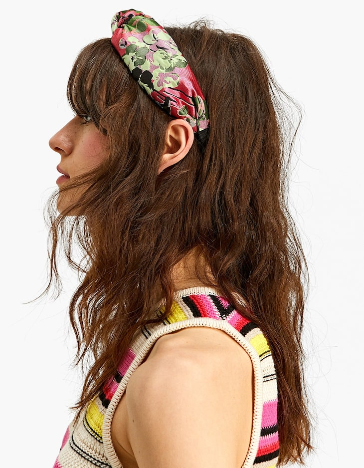 Floral jacquard rigid headband