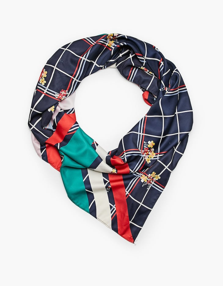 Scarf with check and floral print