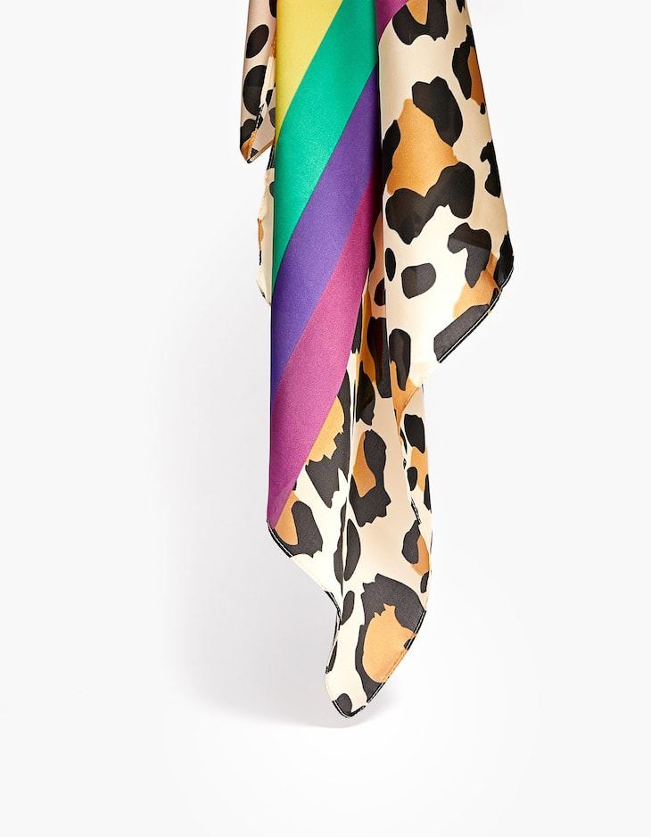 Multicoloured stripes and leopard print scarf