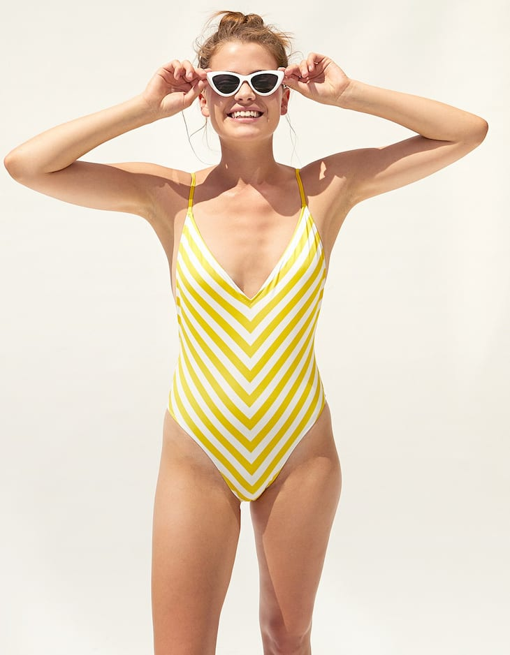 V-neck swimsuit with yellow stripes