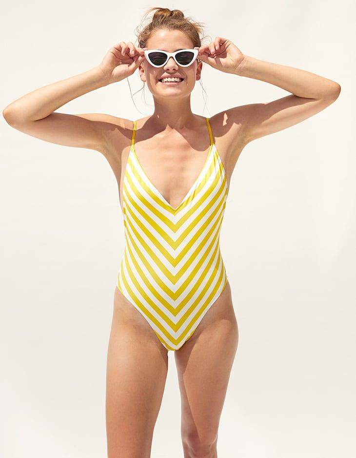 Costum de baie decolteu în V dungi galbene