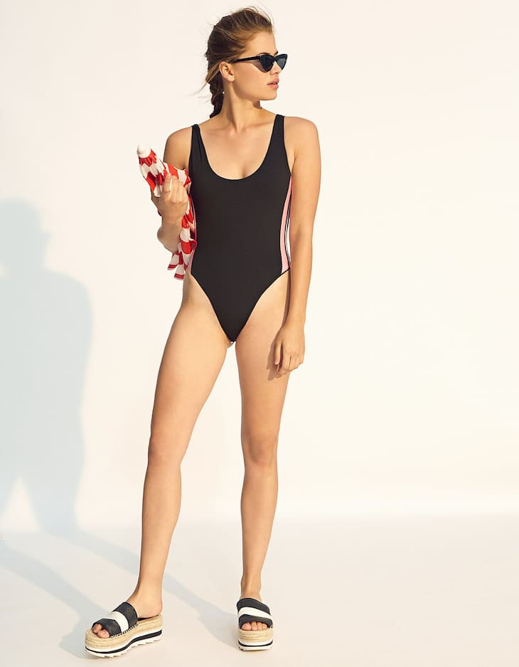 Swimsuit with sporty side stripes