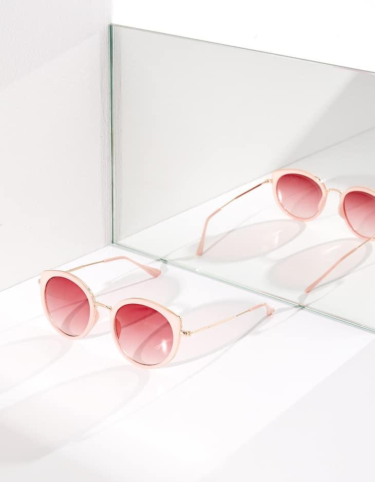 Lunettes roses combinées métal