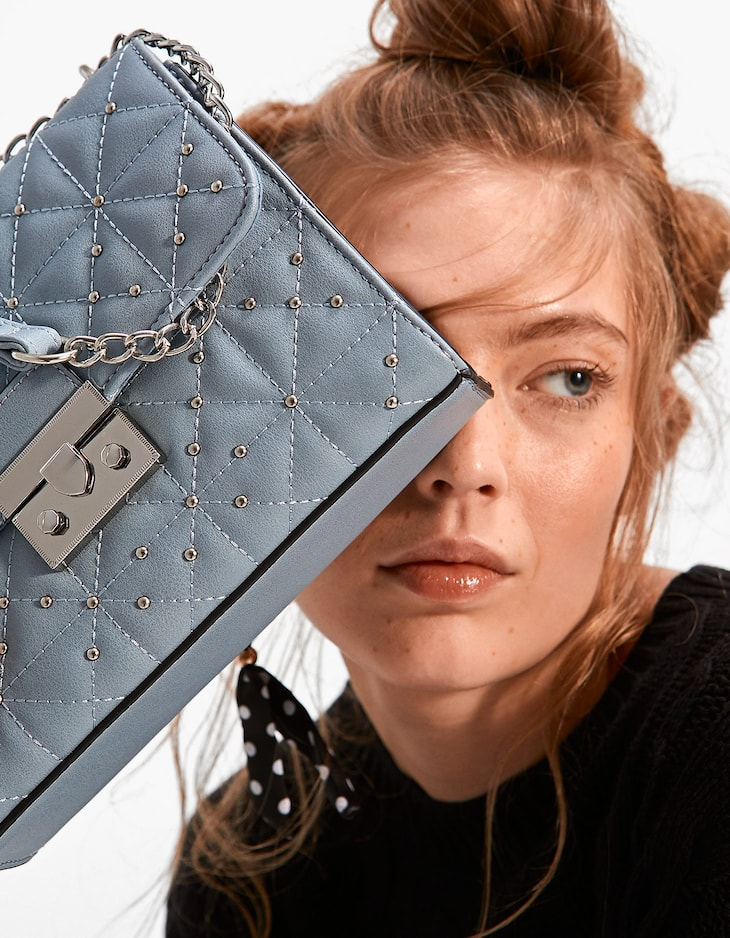 Quilted crossbody bag with studs