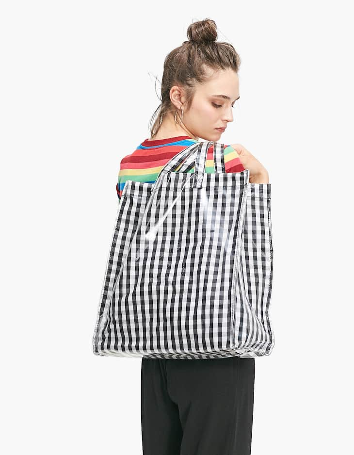 Gingham shopper
