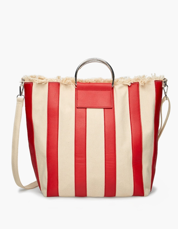 Striped canvas shopper