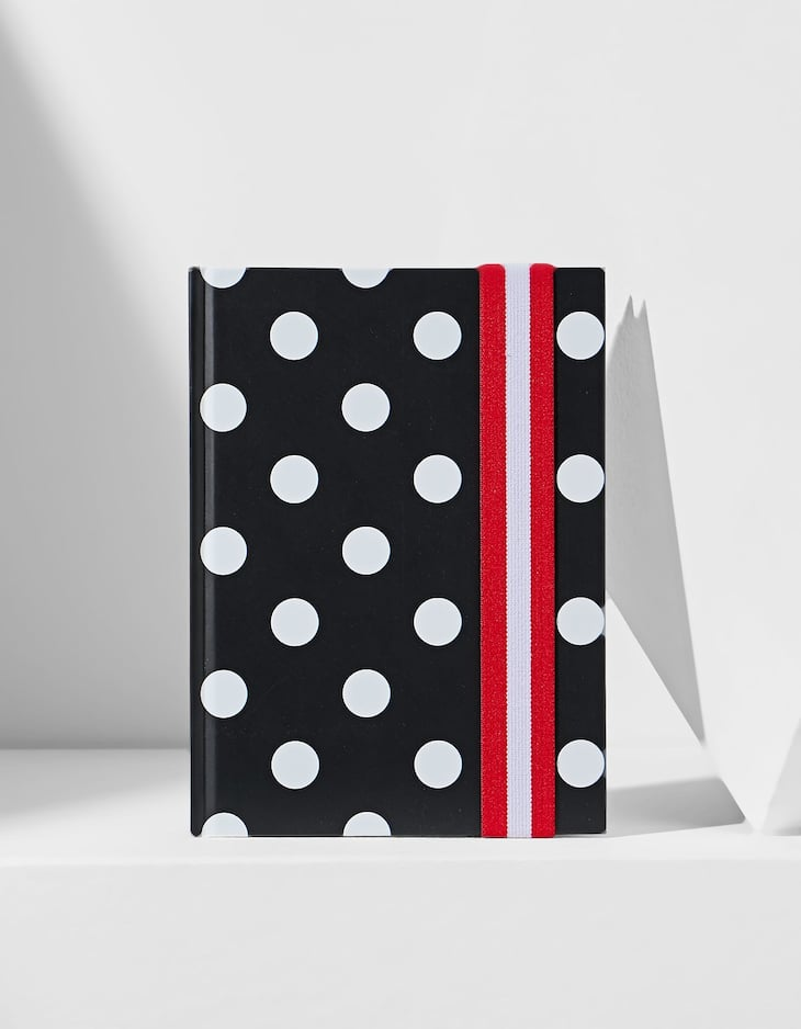 Polka dot planner with elastic band