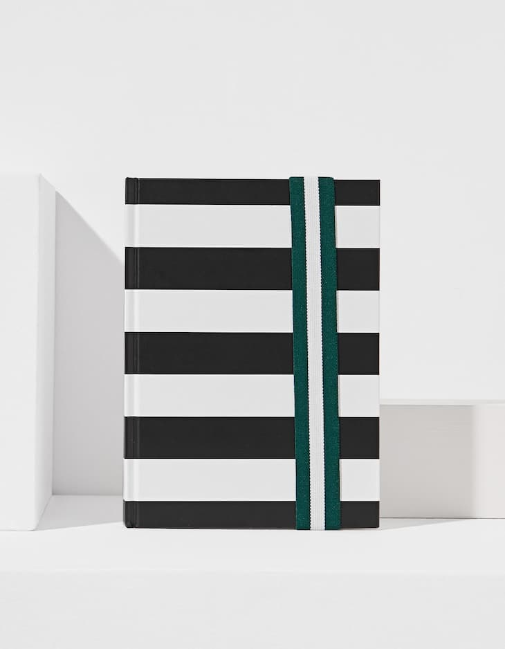 Striped planner with elastic band