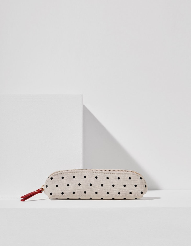 Slim canvas pencil case with mini polka dots