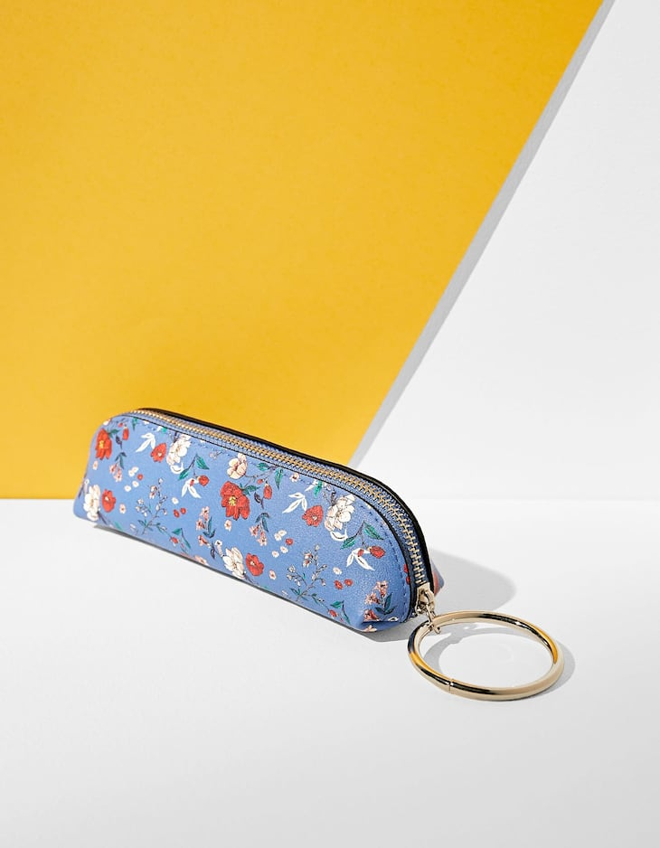 Floral print pencil case with ring