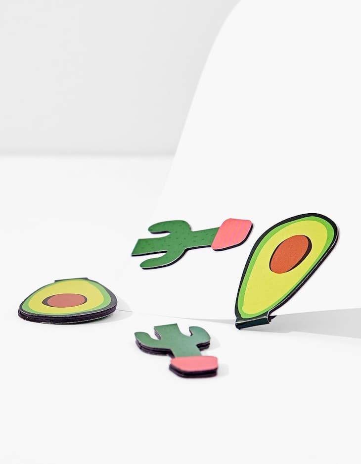 Magnete mit Avocado und Kaktus