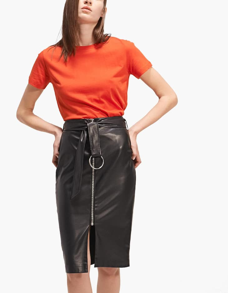 Faux leather pencil skirt with zip