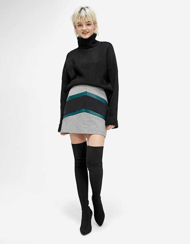 Checked colour block skirt