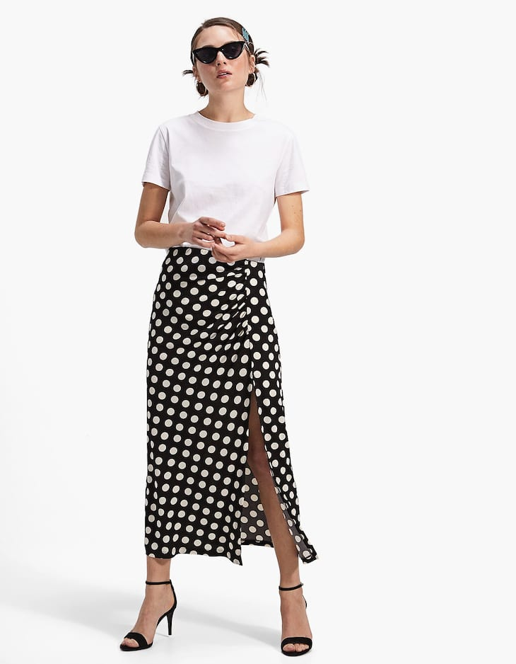 Gathered polka dot skirt