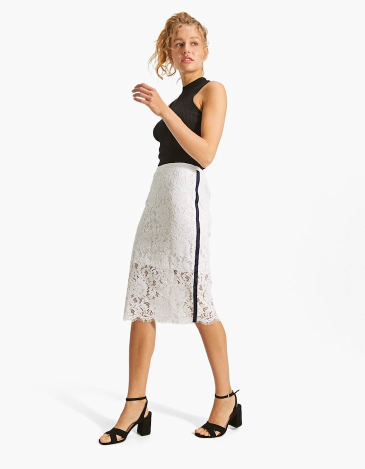 Lace skirt with stripe