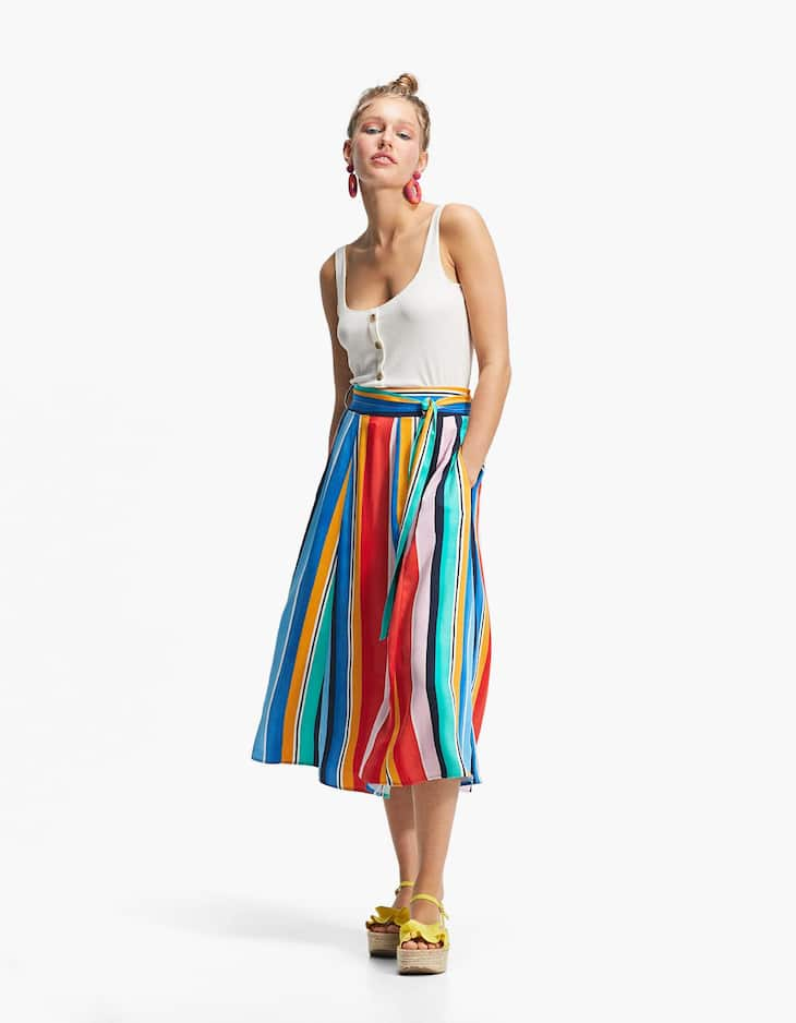 Multicoloured striped flared skirt
