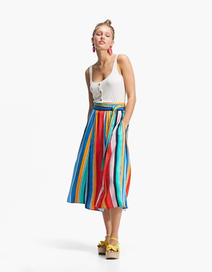 Falda capa rayas multicolor