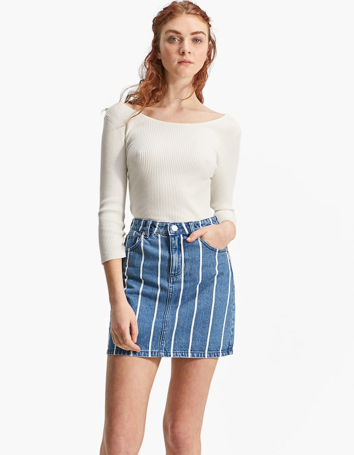 Striped denim fabric mini skirt