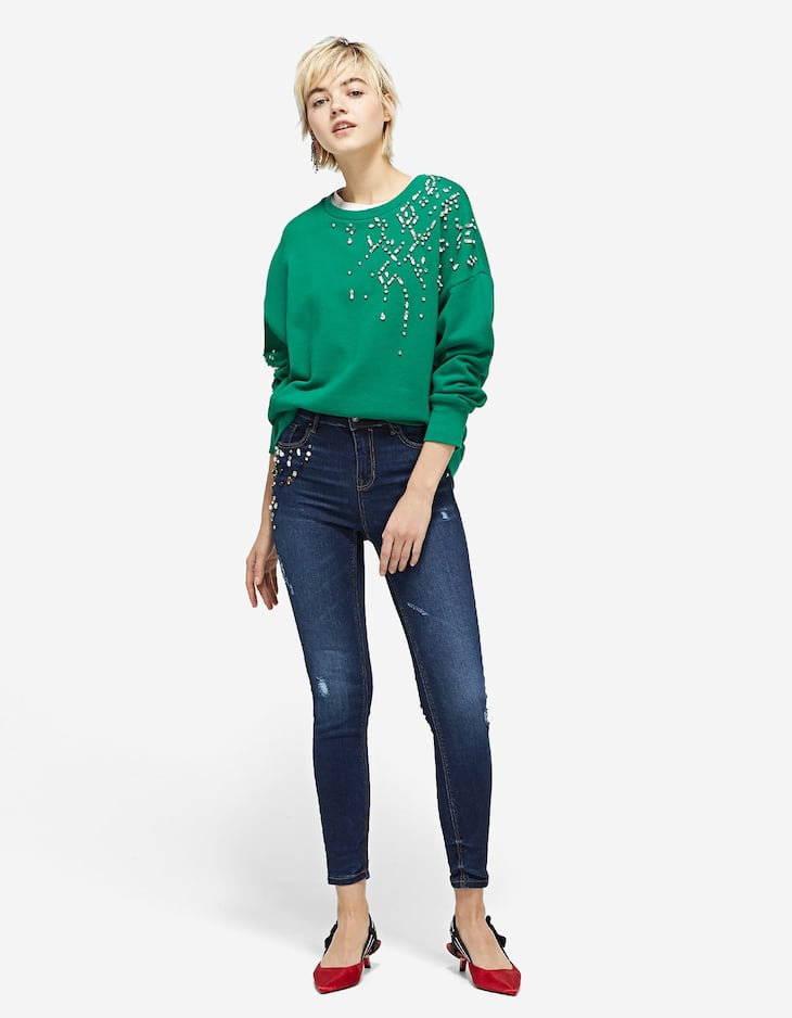 Bejewelled high-rise jeans