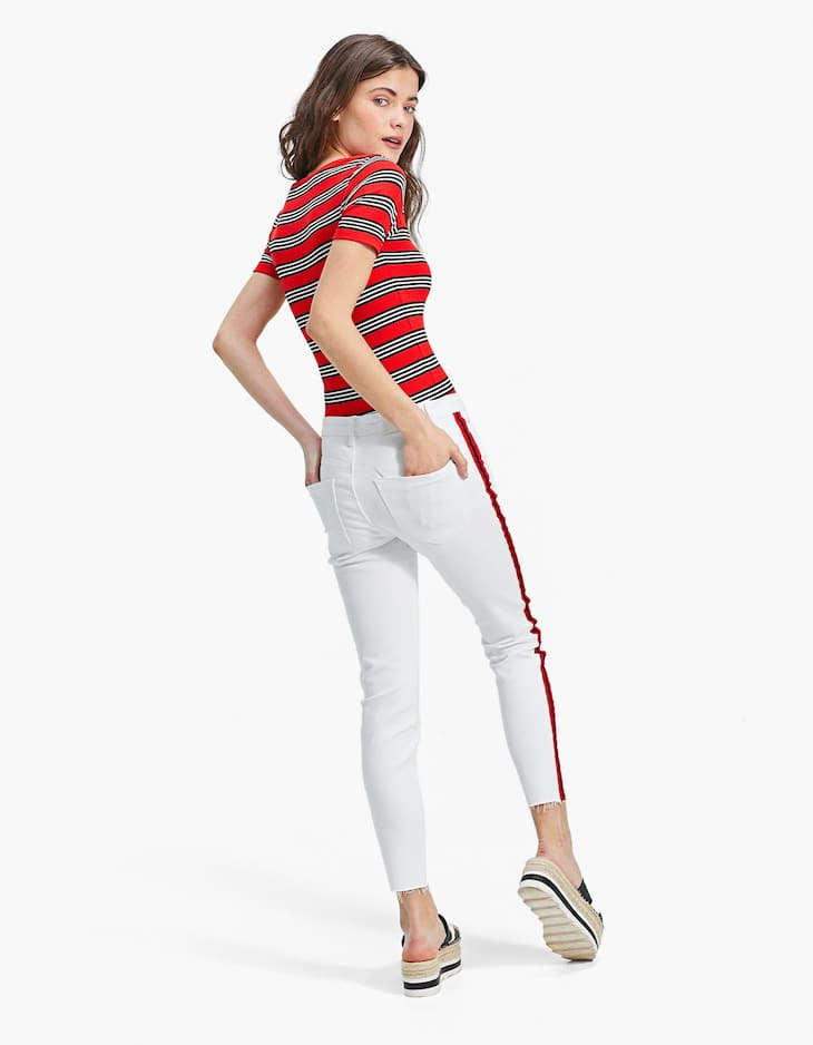 Pantalon skinny bande côté