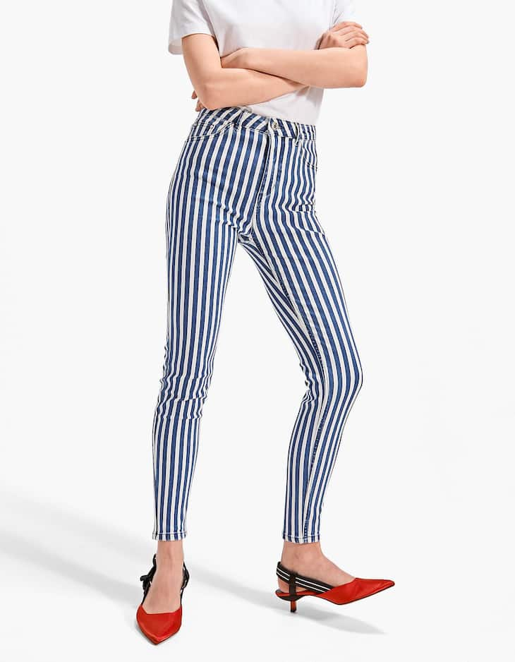 Pantaloni super high waist stripes