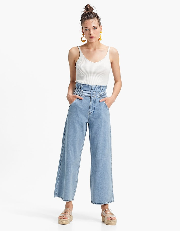 Paperbag denim culottes