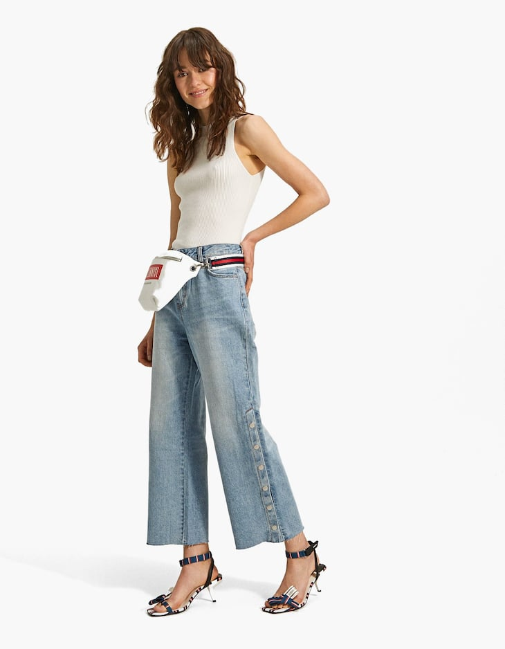 Jeans with snap buttons